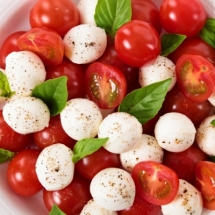 Caprese salad with mozzarella, tomato and basil