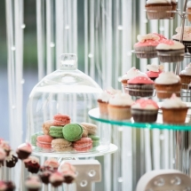 Beautiful wedding dessert table in restaurant